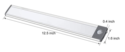 Ability Action Aging In Place LED light dimensions 12.5 inches by 1.6 inches by 0.4 inches