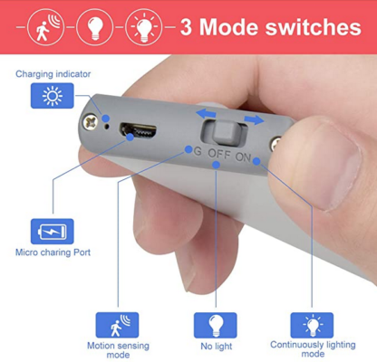 Ability Action Aging In Place LED light three mode switches for motion sensing no light or continuous light micro charging port charging indicator