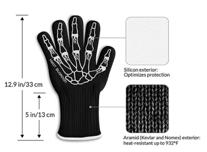 Ability Action Aging In Place Oven Glove Dimensions 12.9 inches long with 5 inch long wrist cuff Material Kevlar Nomex Silicone exterior heat-resistant up to 932 degress fahrenheit